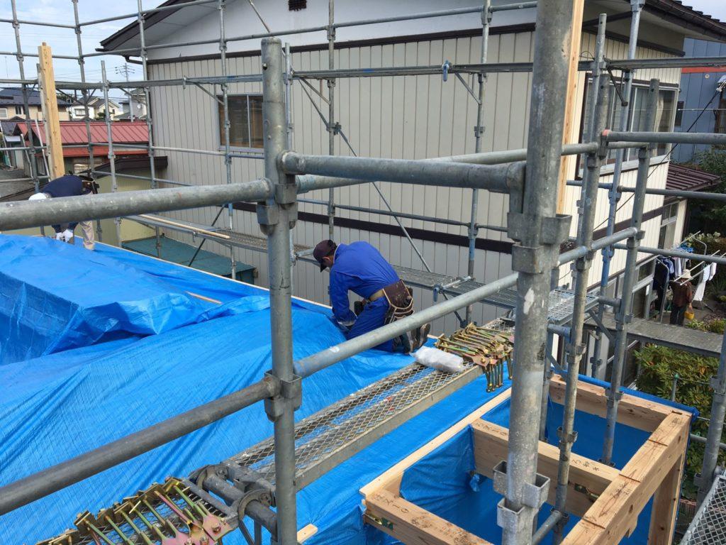 台風のために養生中|八戸市 工務店
