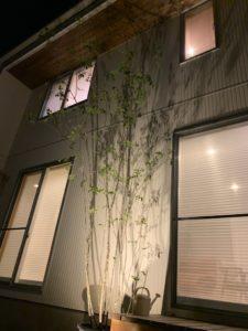 八戸市 根城のM様邸のライトアップした外観写真|八戸市 注文住宅