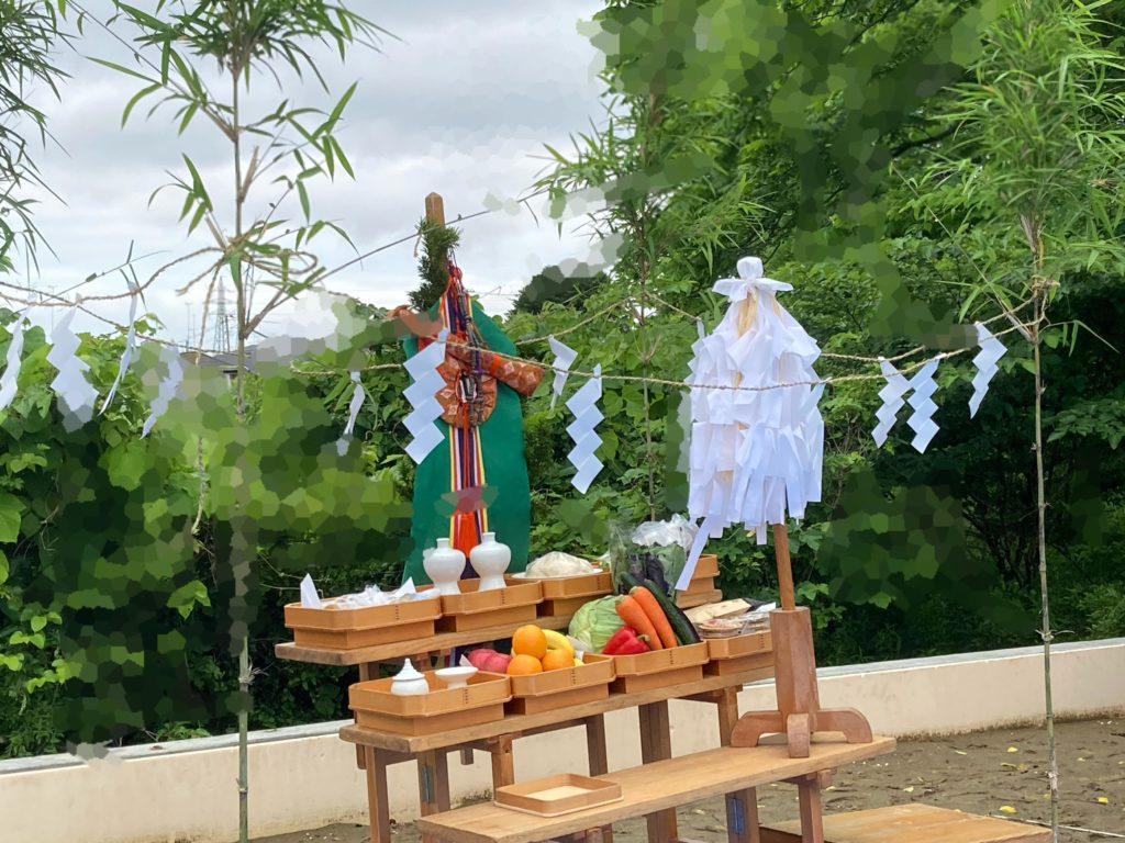 地鎮祭の祭壇|八戸市 新築住宅