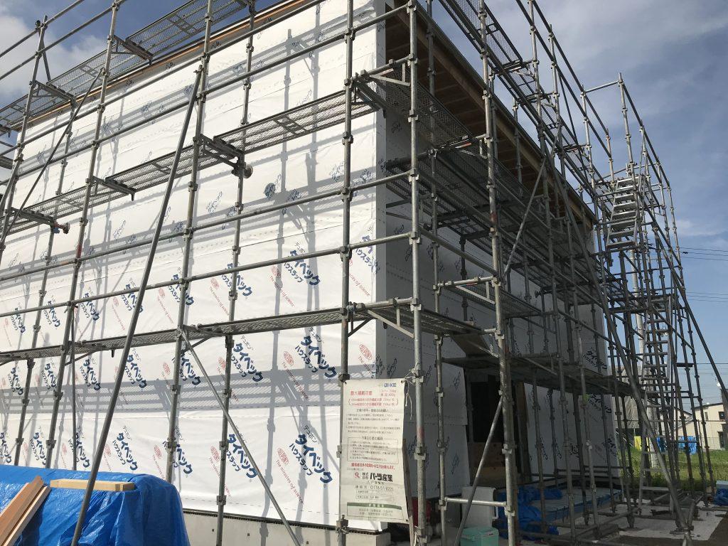 外壁を貼る前の新築住宅 八戸市 工務店