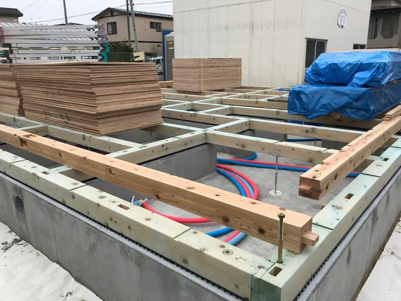 土台敷工事|八戸市 新築住宅
