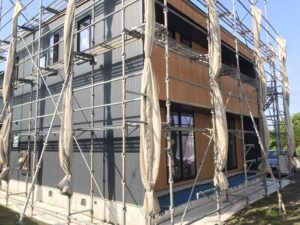 新築住宅かっこいい外壁の張りわけ|八戸市 工務店